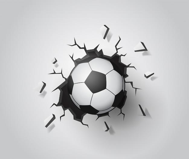 壁にサッカーが壊れた。イラストベクターeps10。 Premiumベクター