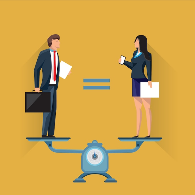 Equal positions of man and woman on scales Premium Vector