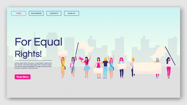 For equal rights landing page vector template. feminist protest website interface idea with flat illustrations. feminism, girl power movement homepage layout. Premium Vector