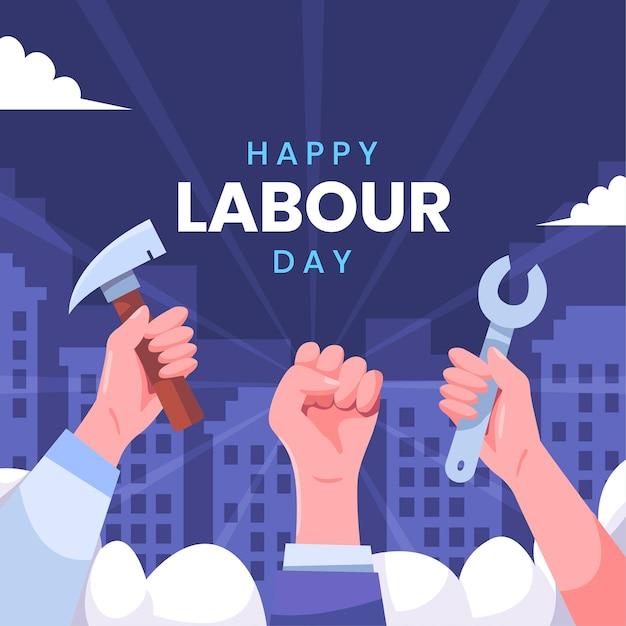 Равенство и единство трудового дня для работников Бесплатные векторы