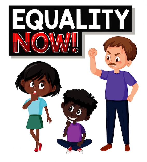 Equality now font text with character Premium Vector