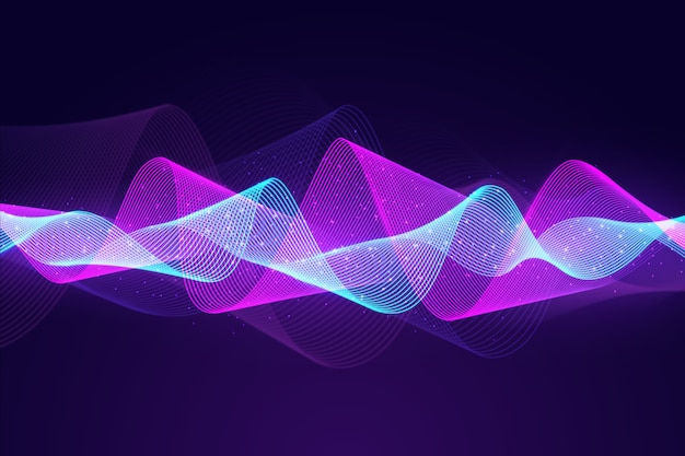Equalizer abstract particles wave background Free Vector