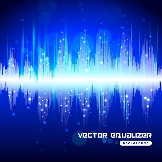 Equalizer blue on dark background poster Free Vector