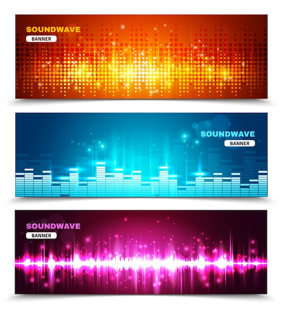 Equalizer sound waves display banners set Free Vector