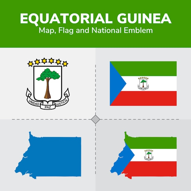Equatorial Guinea Map Flag And National Emblem Vector