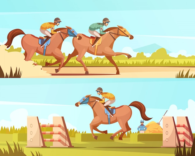 Equestrian sport horizontal banners with horse riding and racing cartoon compositions flat vector illustration Free Vector