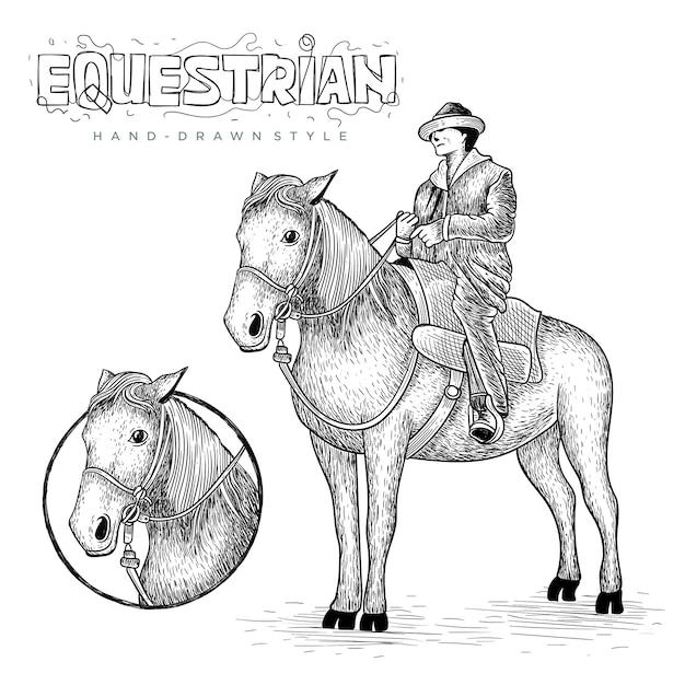 馬のベクトルとサークルのロゴ、手描きの動物イラスト Premiumベクター
