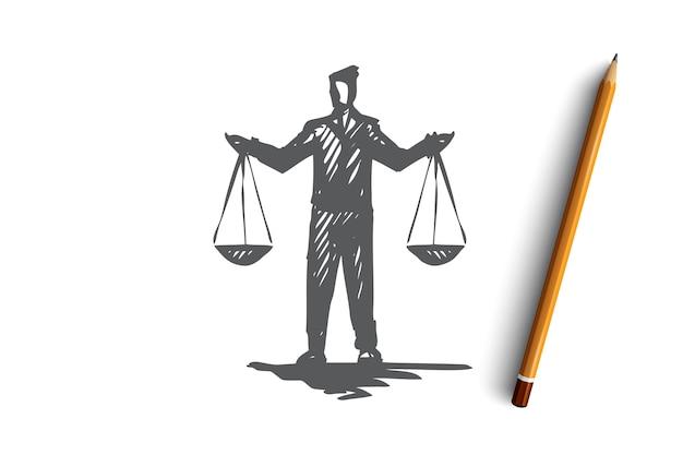 Равновесие, баланс, равенство, масштаб, понятие справедливости. ручной обращается человек с весами в руках эскиз концепции. Premium векторы