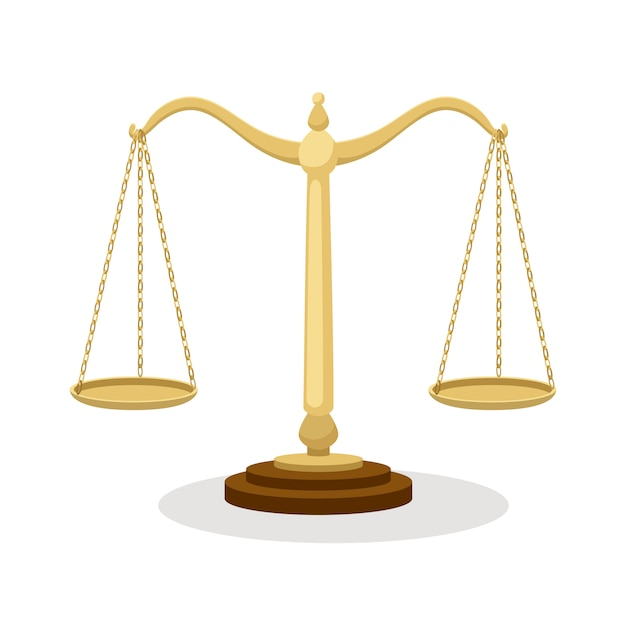 Equilibrium scales. standing balance judicial scales isolated on white, court concept cartoon Premium Vector