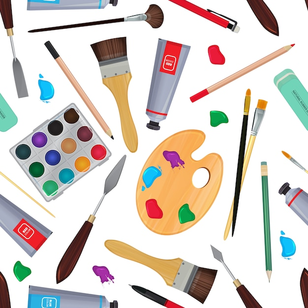 Equipment for artists. different stationery. seamless pattern stationery equipment for drawing pencil and paint. vector illustration Premium Vector
