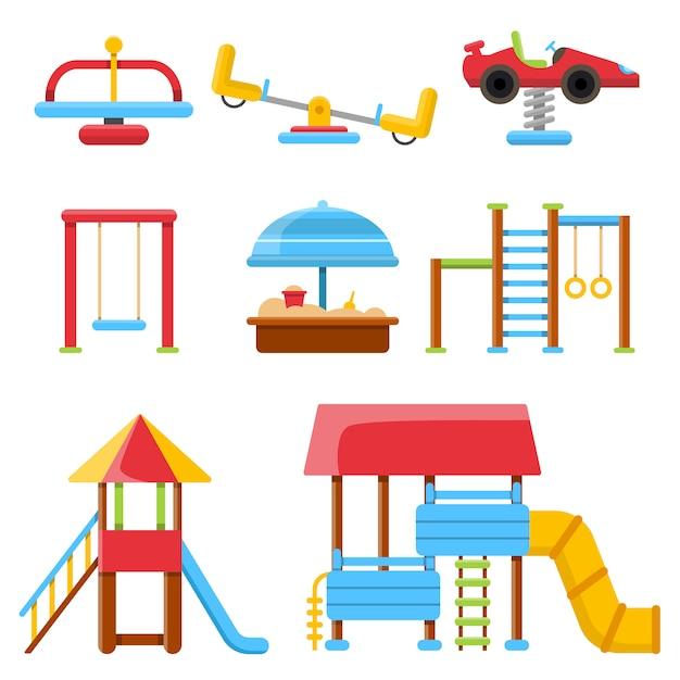 Equipment for childrens playground Premium Vector