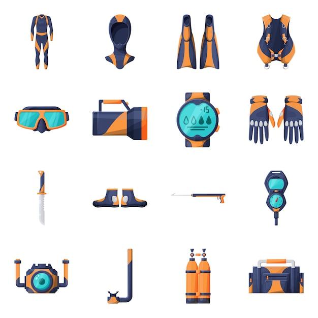 Equipment for diving  cartoon icon set. Premium Vector