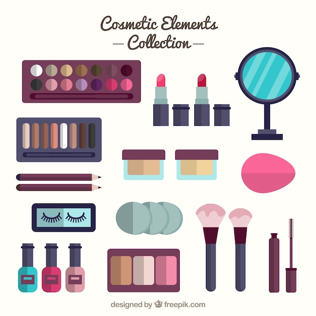 Equipment in flat design with beauty products vector for Products to design
