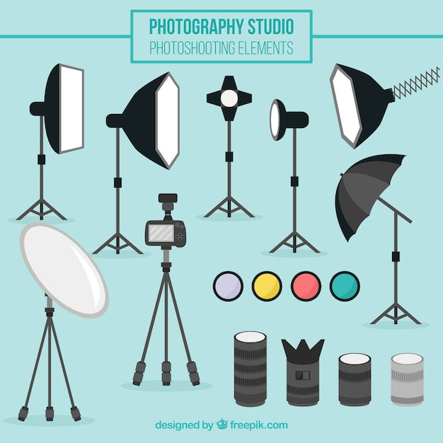 Equipment of photography Free Vector