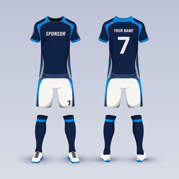 Equipment for soccer sport uniform Premium Vector
