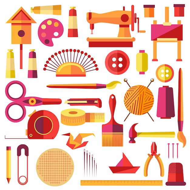 Equipments vector poster for sewing and handmade Premium Vector