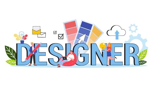 Er web banner design concept. idea of graphic design Premium Vector