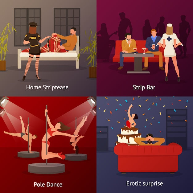 Erotic dance compositions set Free Vector