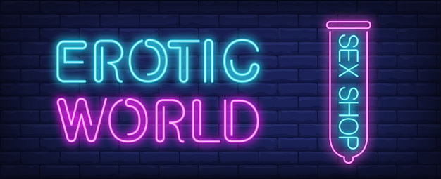 Erotic world of sex shop neon sign. pink condom on dark blue brick wall. Free Vector