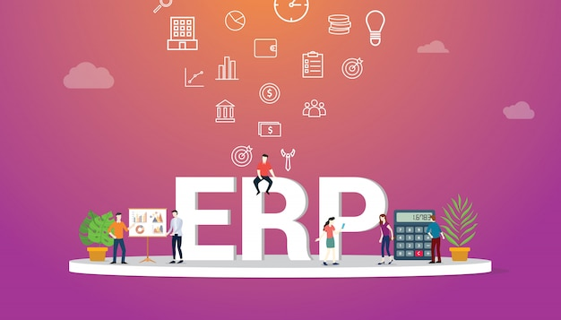 Erp business concept with team people Premium Vector
