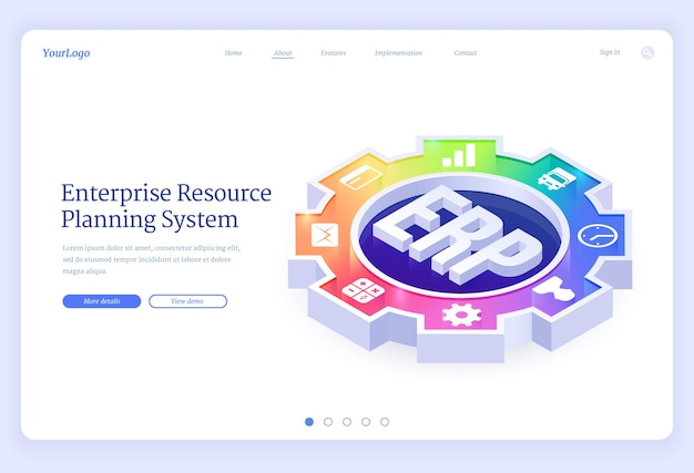 Erp, enterprise resource planning isometric landing page. Free Vector