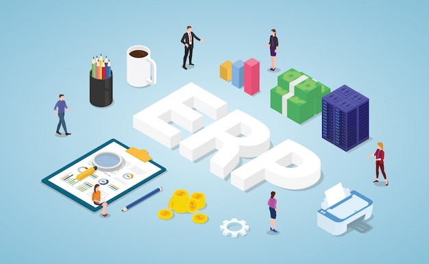 Erp enterprise resource planning with team people and asset company Premium Vector