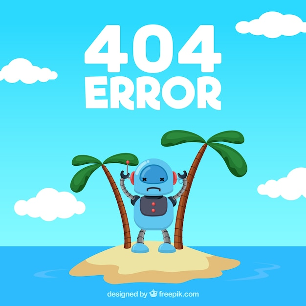 Error 404 background with robot on a desert island Free Vector