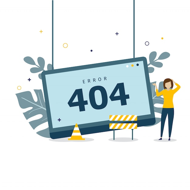 Error 404 concept design for landing page Premium Vector