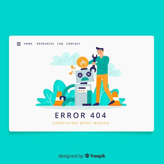 Error 404 concept landing page Free Vector