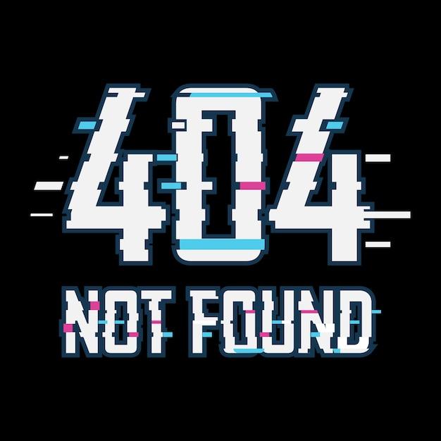 Error 404 not found glitch effect Premium Vector