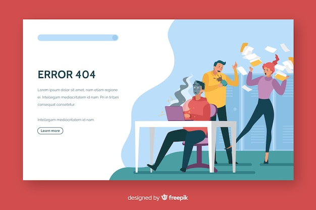 Error 404 landing page flat design Free Vector