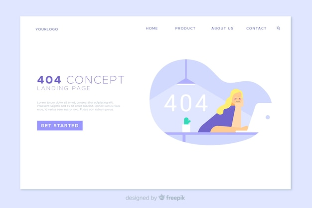 Error 404 landing page template Free Vector