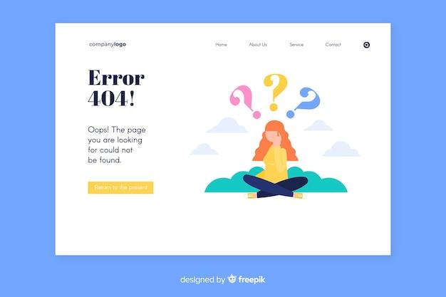 Error 404 landing page template Free Vector