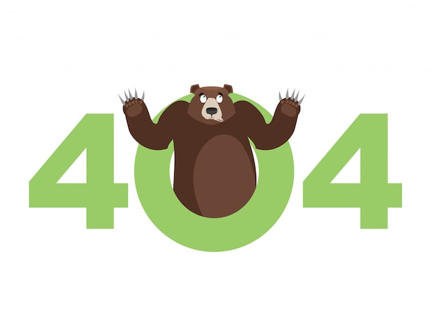 Error 404, page not found for website with bear Premium Vector