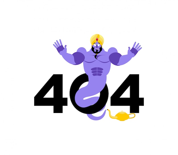 Error 404, page not found for website with genie Premium Vector
