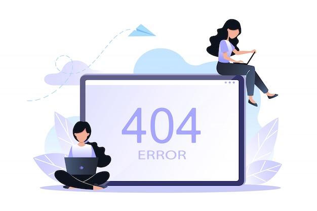 Ошибка 404 страницы или файла не найдена концепция. векторная иллюстрация Premium векторы
