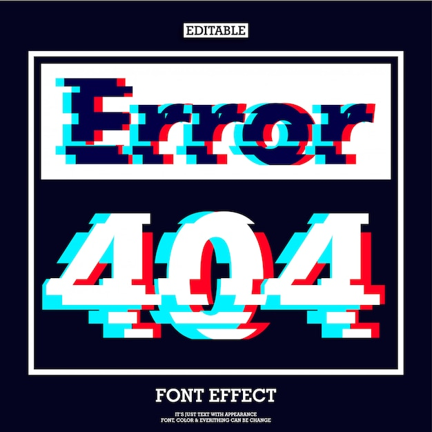 Error 404 page sign with modern glitch effect Premium Vector
