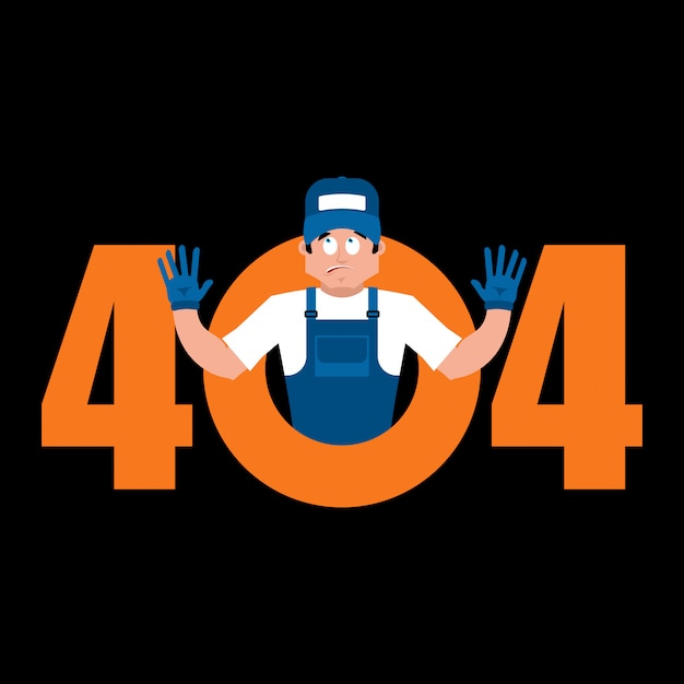 Error 404 plumber surprise. page not found template for website Premium Vector