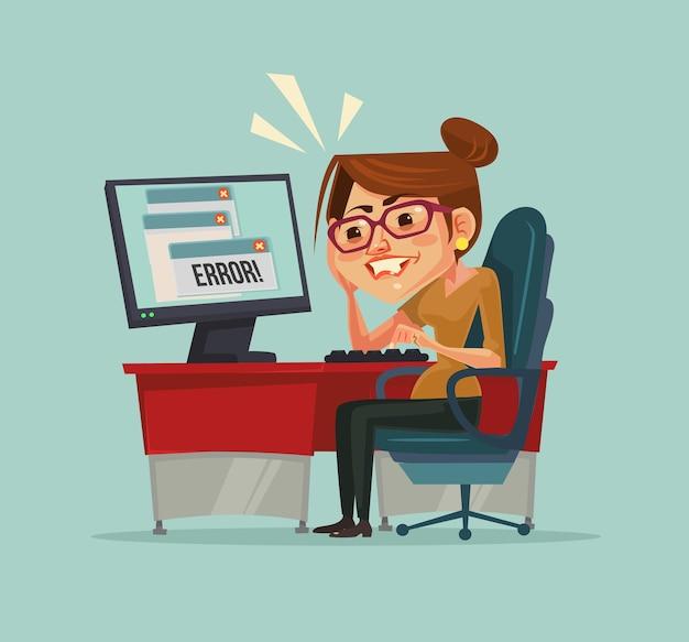 Сообщение об ошибке на компьютере. разочарованный офисный работник женщина персонаж. Premium векторы