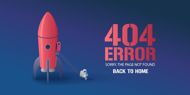Error page  illustration, banner with not found text. cartoon spaceman with computer background for error  concept web  element Premium Vector