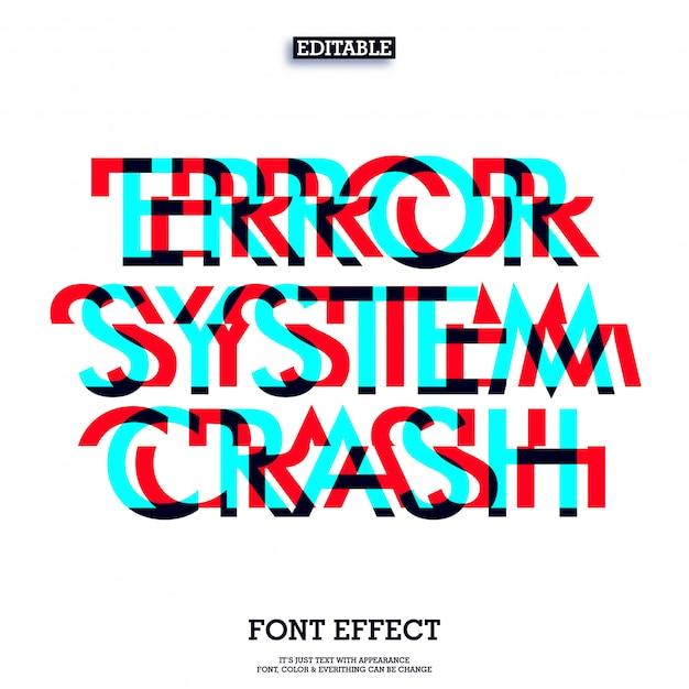 Error system crash font glitch effect Premium Vector