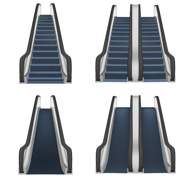 Escalator elevator stairs lift mockup set. realistic illustration of 4 escalator elevator stairs lift mockups for web Premium Vector