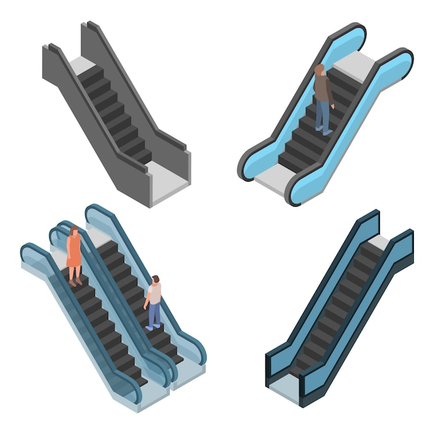 Escalator icon set. isometric set of escalator vector icons for web design isolated on white background Premium Vector