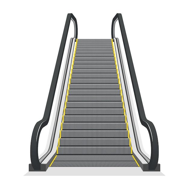 白い背景で隔離のエスカレーター。近代建築の階段、エレベーター、エレベーター、 無料ベクター