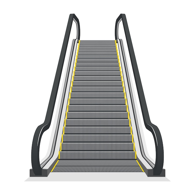 Escalator isolated on white background. modern architecture stair, lift and elevator, Free Vector
