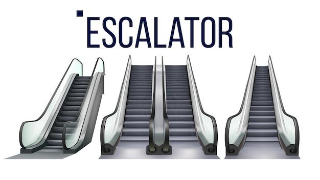 에스컬레이터 계단 전자 장비 세트 프리미엄 벡터