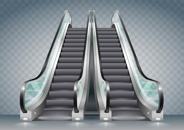Escalator with clear glass Premium Vector
