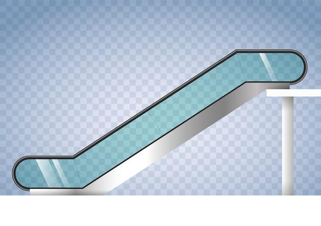 Escalator with transparent glass Premium Vector
