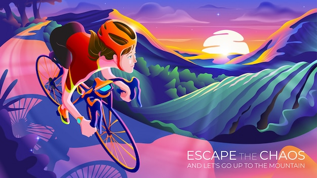 Escape the chaos and go up to the mountain Premium Vector