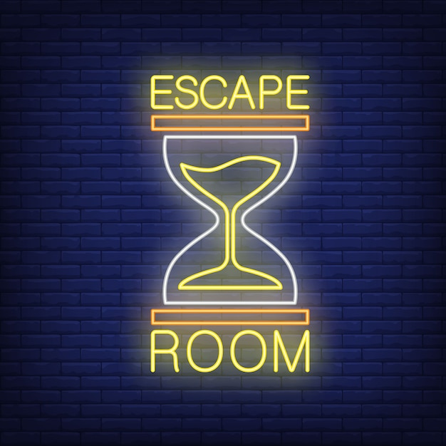 Escape room neon sign. text and sandglass on brick wall Free Vector